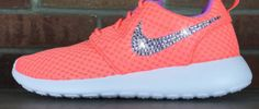 Glitter Kicks Nike Roshe Runs With Swarovski Crystal Rhinestones Orange Blue