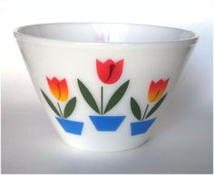 Fire King Glass TULIPS 9 1/2 in Mixing Bowl by cheshirecatantiques, $59.99