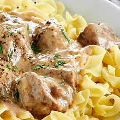 Slow Cooker Beef Stroganoff with Beef Broth, Milk, White Wine, Salt, Black Pepper, Onion Powder, Parsley Flakes, Celery Seed, Paprika, Unsalted Butter, Sliced Mushrooms, Yellow Onion, Round Steaks, Flour, Sour Cream, Wide Egg Noodles.