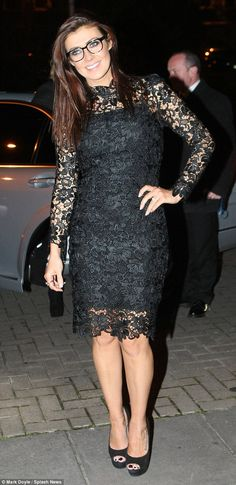Lovely in lace: Kym Marsh stunned on Saturday evening as she stepped out in Dublin wearing a LBD