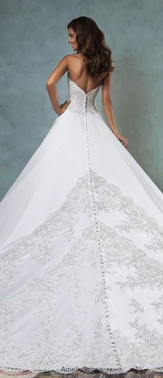 amelia sposa 2016 wedding dresses strapless sweetheart neckline embroideried bodice beautiful satin a line ball gown wedding dress canty back view -- Amelia Sposa 2016 Wedding Dresses Bridal Dresses Online, 2016 Wedding Dresses, Bridal Gowns, Wedding Gowns, Dress Online, Amelia Sposa Wedding Dress, Unconventional Wedding Dress, Bridal Style, Wedding Styles