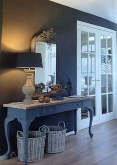 Uncover inspiration for your next blue hallway walls update. Behr has blue entryway paint colors to accent any style you want to feature in your home. Hallway Decorating, Decorating Your Home, Interior Decorating, Interior Design, Painted Furniture, Home Furniture, Blue Hallway, Home And Living, Living Room