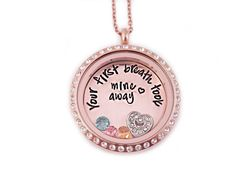 Rose Gold Personalized Your First Breath by StampressionsLockets
