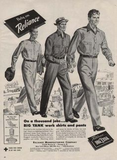 Vintage Clothes/ Fashion Ads of the (Page 1950s Fashion Menswear, 1940s Fashion, Vintage Fashion, Vintage Outfits, 1940s Outfits, Vintage Costumes, Vintage Clothing, Mode Masculine, Life Magazine