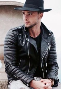 Great looks in fedora with modified classic biker jacket.