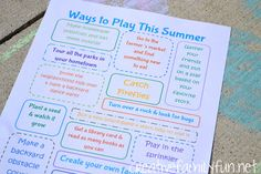 Ways to Play This Summer ~ A Printable Summer Bucket List ~ Creative Family Fun