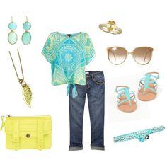 Aqua & Yellow, created by breemendoza on Polyvore