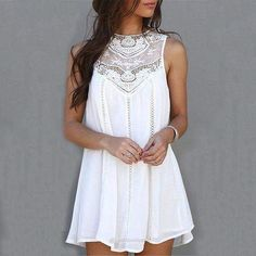 Casual Dresses for Woman 2017 Sleeveless Lace Summer Dresses Fit Mini Beach Sexy Short White Women Dress Plus Size Summer Dresses 2017, Lace Summer Dresses, Summer Dresses For Women, Trendy Dresses, Sexy Dresses, Plus Size Dresses, Casual Dresses, Fashion Dresses, Dress Summer