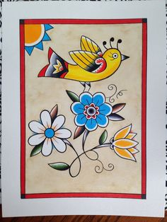 Sunny Bird on Flowers, original 9x12 Fraktur German folk style flowers Americana Pennsylvania Dutch country farm house decor cottage by BlueBirdFolkArt on Etsy https://www.etsy.com/listing/222743175/sunny-bird-on-flowers-original-9x12