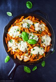 Super easy and delicious no-boil baked penne topped with fresh mozzarella and basil.