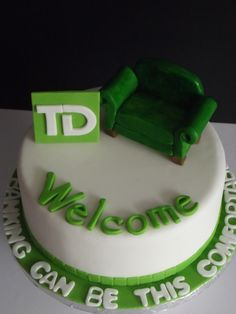 This TD cake is the perfect way to celebrate a Branch Relocation and represents all of our favourite things about TD!