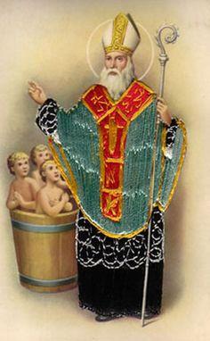 Saint Nicolas reviving the chopped up, pickled children (! St Claus, Santa Clause, Saint Nicolas, Santa Pictures, Saint George, Christmas Makes, Celestial, Three Kids, Saints