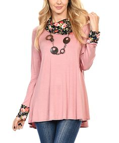 Look at this #zulilyfind! Mauve & Black Floral Melange Cowl Neck Tunic by Goo Yoo #zulilyfinds