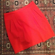 Bright Orange Pleated Skirt Bright Pleated Skirt perfect for work or for going out Forever 21 Skirts