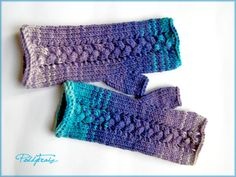 Knitted Fingerless Mittens Arm Warmers Blue and Purple Gloves Winter Accessory Hand Knitted Christmas Mothers day Valentine gift