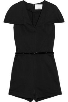 Phillip Lim black playsuit Structured satin Cape-style cap sleeves, detachable patent-leather belt (Calf), slant pockets, back welt pocket Fully lined Concealed hook and zip fastening at back polyester, silk; Satin Playsuit, Satin Jumpsuit, Jumpsuit With Sleeves, Simply Fashion, Designer Jumpsuits, Tomboy Fashion, Tomboy Style, Sweater Sale, Black Romper