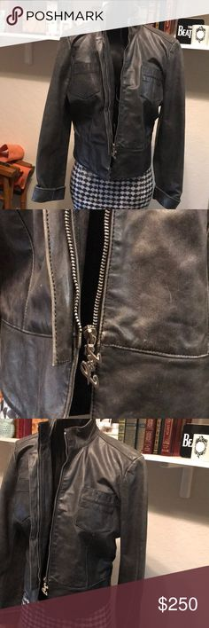 ICE / iceberg Italian Leather Jacket It's a gunmetal color , very James Dean , biker like without all the crazy moto zippers . Very easily uptown with a Chanel in tow or downtown with shredded distressed jeans. Made in Italy Ice Jackets & Coats Utility Jackets