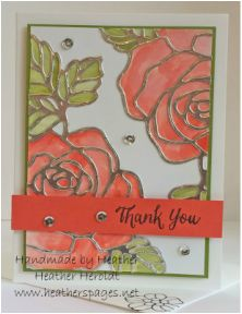 Rose Wonder - stamp roses first then watercolor, place silver die cut over image