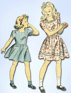 1940s Vintage WWII Little Girl's Dress 1943 Du Barry Sewing Pattern 5647 Sz 10