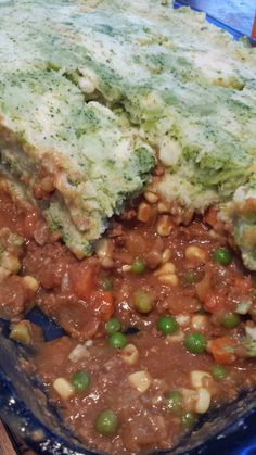 Vegetarian Shepherd's Pie with green mashed potatoes  Fat Free