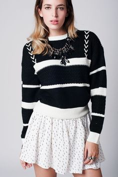 Q2 Black Striped Cable Knit Sweater