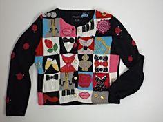 Michael Simon Sweater Cardigan S Beaded 1999 Date Night #MichaelSimon #Cardigan