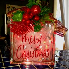 255 best Christmas glass blocks images on Pinterest | Glass blocks ...