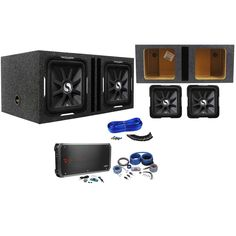 poly planar b0x 200w white waterproof full size box speakers pair package 2 kicker 11s12l7 4 12 solo baric l7 subwoofers totaling