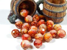 20 Pcs 6x8mm Picasso Glass Beads Red Orange by DesertSunBeads
