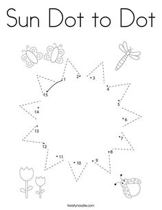 Sun Dot to Dot Coloring Page - Twisty Noodle Coloring Pages Nature, Spring Coloring Pages, Coloring Pages For Kids, Free Preschool, Preschool Crafts, Worksheets For Playgroup, Letter B Activities, Body Parts For Kids, Dot To Dot Printables