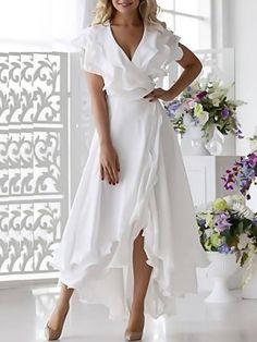 Wrap Dress Midi, White Midi Dress, Chiffon Dress, White Wrap Dress, Womens White Dress, White Beach Dresses, White Dresses For Women, Elegant Midi Dresses, Cheap Maxi Dresses