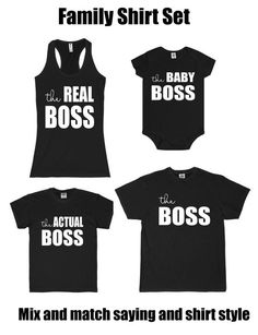 The Boss The Real Boss Matching Family Shirt Set Unisex Mom Dad Son Daughter Mommy and Me Matching Set Baby Funny Shirt Cute Saying - Family Shirts - Ideas of Family Shirts - Dad And Son Shirts, Boss Shirts, Mothers Day Shirts, Family Shirts, Funny Shirts, Couple Shirts, Matching Family Outfits, Matching Shirts, Matching Set