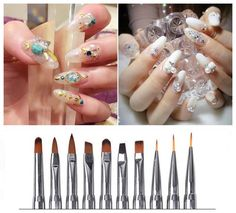 hot Crystal Nail Art UV Gel Acrylic Pen Brush Dotting Painting Drawing Polish #Unbranded