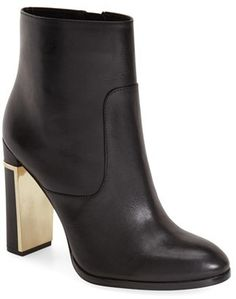 Trending On ShopStyle - Calvin Klein 'Karlia' Ankle Bootie. A gilt inner heel and exposed side zipper lend flashes of glamour to a lithe ankle bootie featuring burnished leather composition.