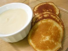 Coconut Flour Pancakes and Coconut Dipping Sauce (■6 tablespoons coconut milk   ■3 tablespoons coconut flour   ■honey or stevia to taste)