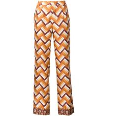 For Restless Sleepers Chevron Print Straight Trousers ($494) ❤ liked on Polyvore featuring pants, straight pants, chevron pants, white pants, white silk pants and silk pants