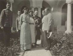 "The Grand Duchesses Tatiana,Maria and Olga Nikolaevna Romanova of Russia with officers at the Livadia Palace estate. ""AL"""