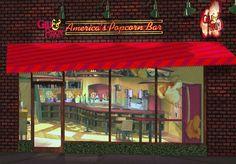 Gill & Firkin Popcorn Bar exterior signage, awnings and lighting