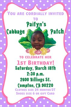 Cabbage Patch Kids Birthday Invitation - Can be customized in any way. Colors can be changed. - Contact me via email at aswiney01@yahoo.com or simply click on the image to visit my facebook page to message me. I can design this or any other invitation you want for only $10. Be sure to check out my other designs on my facebook page or on this Pinterest board.