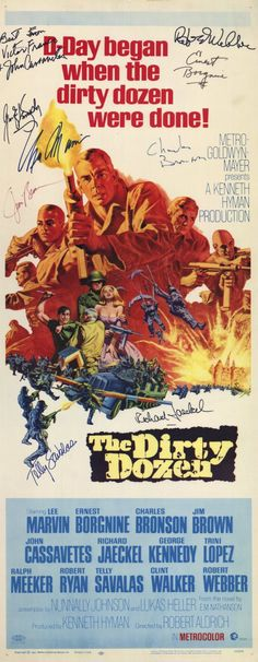 Original 1967 The Dirty Dozen US insert film movie poster - Orson & Welles Old Movie Posters, Movie Poster Art, Vintage Posters, Old Movies, Vintage Movies, Lee Marvin, Clint Walker, Charles Bronson, Movies And Series