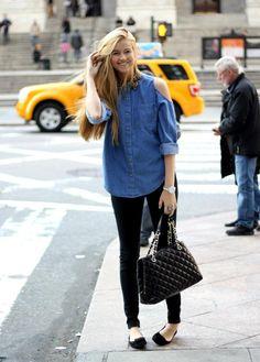 Denim Shirt, black leggings @roressclothes closet ideas #women fashion outfit #clothing style apparel