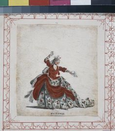 Phedre; wearing a red and gold dress with a white skirt of floral design, one arm raised above her head, the other outstretched Brush drawing in grey wash, watercolour and bodycolour, touched with gold, on vellum Producer nameDrawn by: Johann Ludwig Fäsch biography School/styleGerman term detailsBritish Date1750-1778