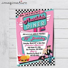 50's Diner Invitation Birthday Party Rock 'n Roll Sock Hop Retro Poodle Skirt Invite 1950s Diner Fifties Vintage Style - Digital File by ImaginationInvites on Etsy