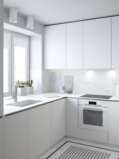minimalist kitchen All white kitchen inspiration, with fingerpull doors and drawers Modern Kitchen Cabinets, Kitchen Cabinet Design, Interior Design Kitchen, Kitchen Countertops, Kitchen Modern, Kitchen Small, White Countertops, Quartz Countertops, White Contemporary Kitchen