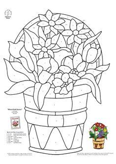 Patron pour vitrail - Panier fleuri