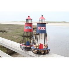 Lighthouse Kitchen Decor | Lighthouse Wine Cork Holder, Beachy Wine Cork  Holders