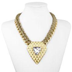 Woven Chain Triangle Statement Necklace Choker Khaki