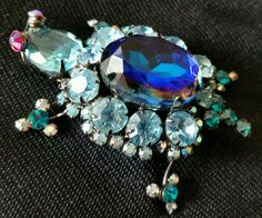 Verified D&E Juliana TURTLE pin brooch watermelon blue aqua rhinestone red eyes #Juliana