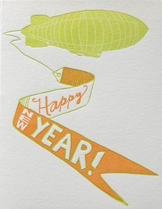 Blackbird Letterpress Zeppelin New Year Card