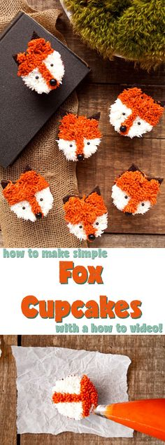 Weiße Hochzeitstorte Cupcakes Fox Cupcakes with a Simple How to Video Cupcakes Design, Cute Cupcakes, Birthday Cupcakes, Cupcake Cookies, Party Cupcakes, Halloween Cupcakes, Easy Animal Cupcakes, Cupcake Ideas Birthday, Big Bird Cupcakes
